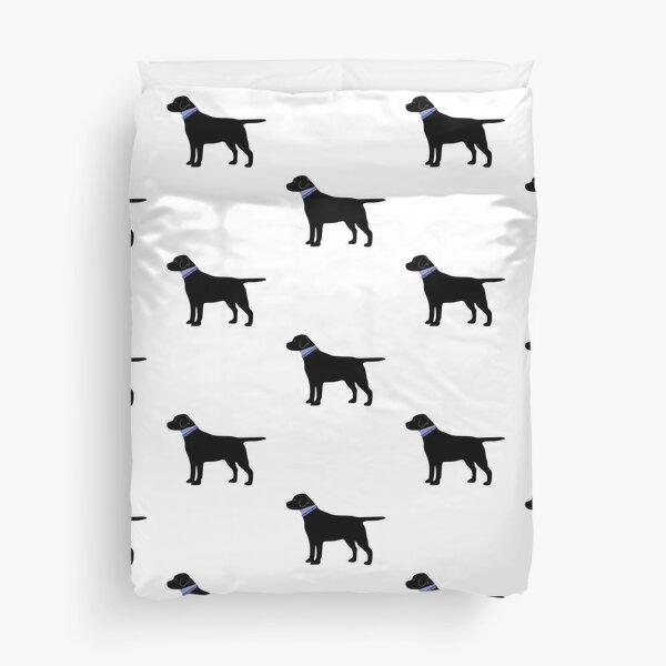 Black Labrador Retriever Preppy Silhouette Duvet Cover