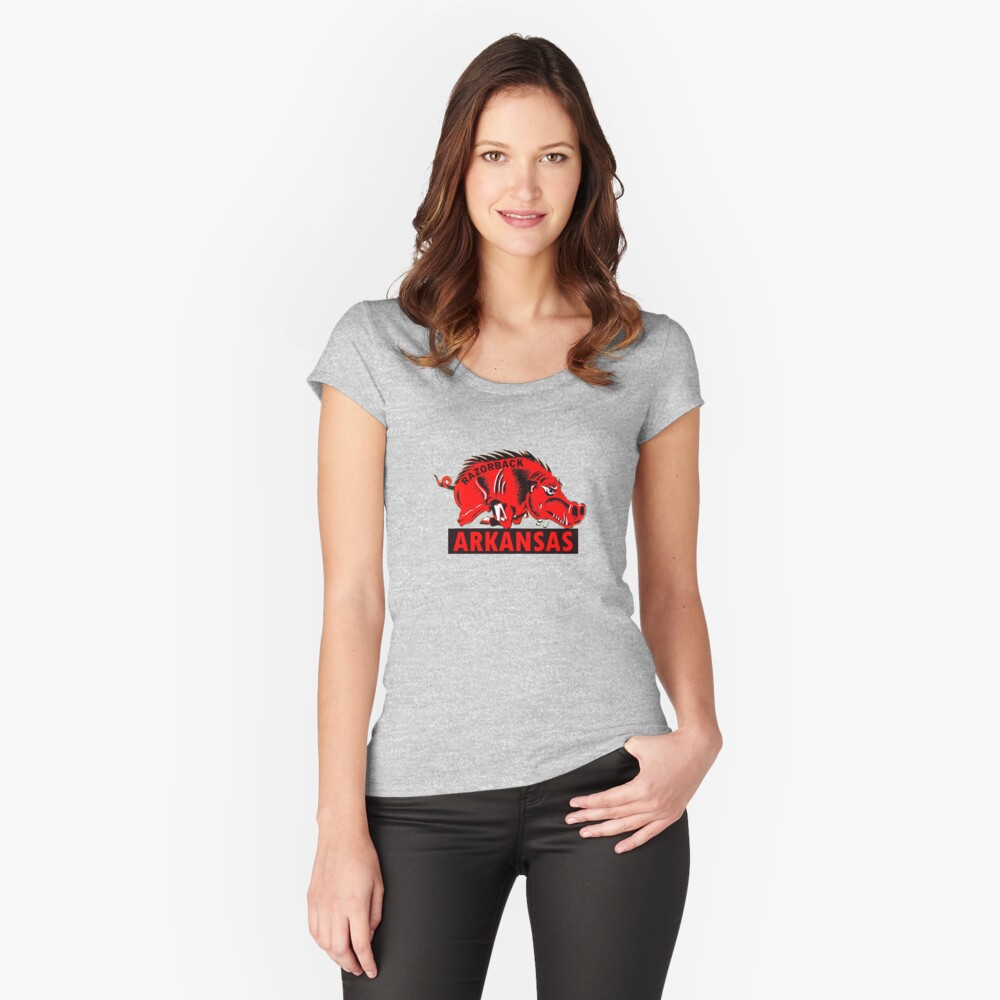Arkansas Razorback Vintage Travel Decal Fitted Scoop T-Shirt