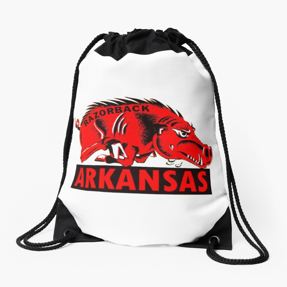 Arkansas Razorback Vintage Travel Decal Drawstring Bag