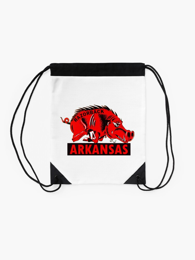 Alternate view of Arkansas Razorback Vintage Travel Decal Drawstring Bag