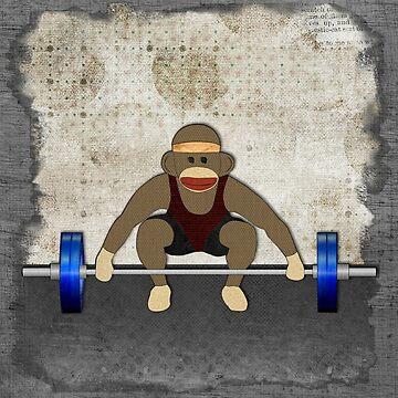 Sock Monkey Bodybuilder by janetcarlson