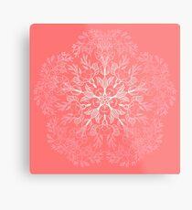 cherry blossom mandala- Coral sakura Metal Print