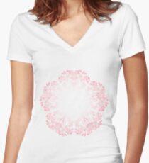 cherry blossom mandala- Coral sakura Women's Fitted V-Neck T-Shirt