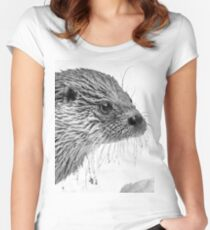 Eurasian Otter in a Snowstorm Women's Fitted Scoop T-Shirt