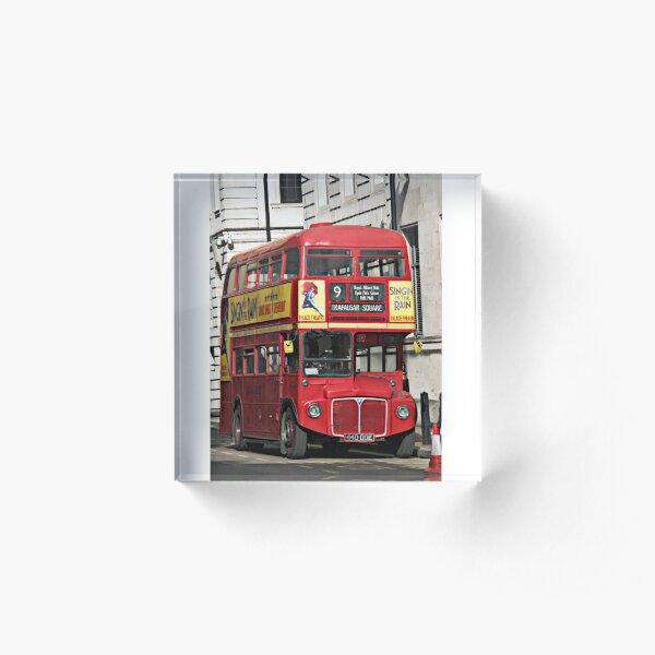Vintage Red London Bus Acrylic Block
