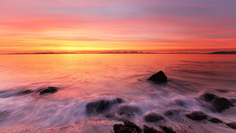 Kintyre Rocky Coast Sunset  by Grant Glendinning