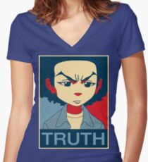 The Boondocks-Huey-Truth Women's Fitted V-Neck T-Shirt