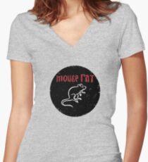 Maus Ratte Tailliertes T-Shirt mit V-Ausschnitt