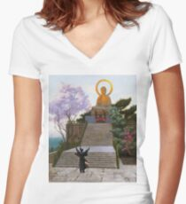 Jean - Leon Gerome - Japanese Emploring A Deity Women's Fitted V-Neck T-Shirt
