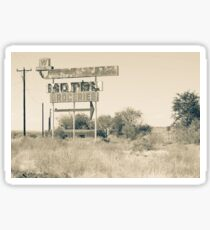 Weathered memoir Whiting Bros Motel sign along Route 66 Sticker