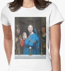 Jean - Auguste - Dominique Ingres - The Virgin Adoring The Host Womens Fitted T-Shirt
