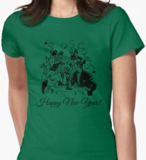 Happy New Year Couple of some bygone age Womens Fitted T-Shirt