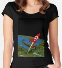 Tintin Rocket Women's Fitted Scoop T-Shirt