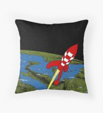 Tintin Rocket Throw Pillow