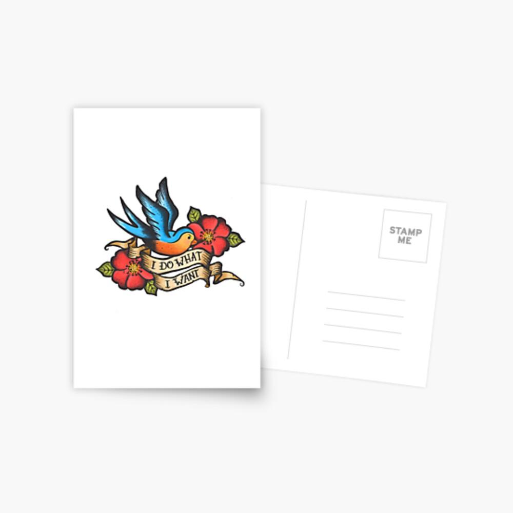 Ich mache, was ich will Vintage Bluebird und Rose Tattoo Postkarte