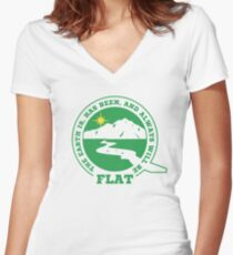Camiseta entallada de cuello en V Diseños de Flat Earth: la Tierra es, ha sido y siempre será FLAT
