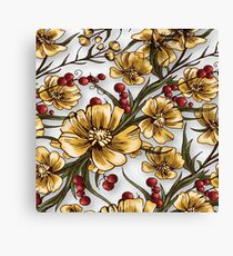 Yellow Flowers Vintage Floral  Canvas Print