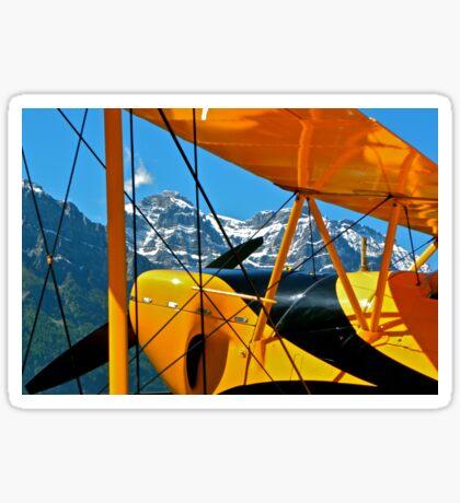 Biplane in the Alps Sticker