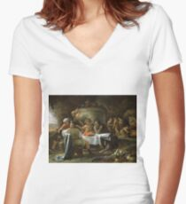 Jan Steen - Theseus And Achelous Women's Fitted V-Neck T-Shirt
