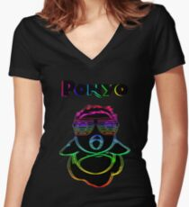 Electric Ponyo (Fish Form) Women's Fitted V-Neck T-Shirt