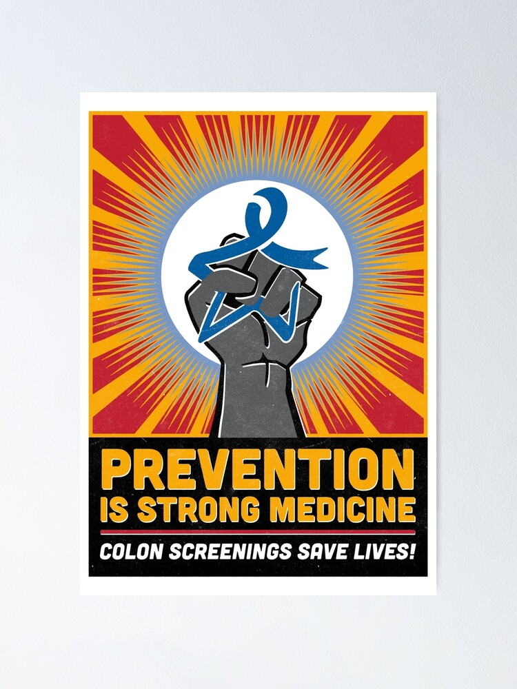 Colon Cancer Blue Star Fist Poster By Destinationx Redbubble
