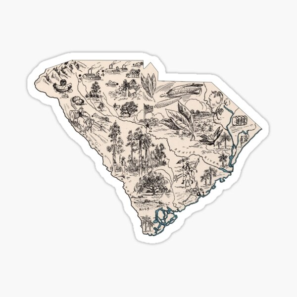 South Carolina Vintage Picture Map Sticker