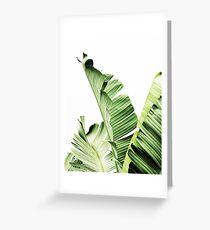 Banana leaves,Tropical leaves, Green leaves, Leaf, Modern art, Wall art, Print, Minimalistic, Modern, Scandinavian print Greeting Card