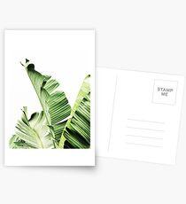 Banana leaves,Tropical leaves, Green leaves, Leaf, Modern art, Wall art, Print, Minimalistic, Modern, Scandinavian print Postcards