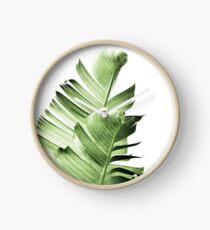 Banana leaves,Tropical leaves, Green leaves, Leaf, Modern art, Wall art, Print, Minimalistic, Modern, Scandinavian print Clock