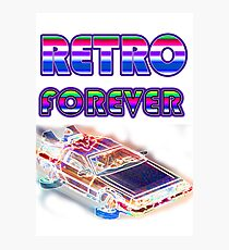 RETRO FOREVER DELOREAN Photographic Print