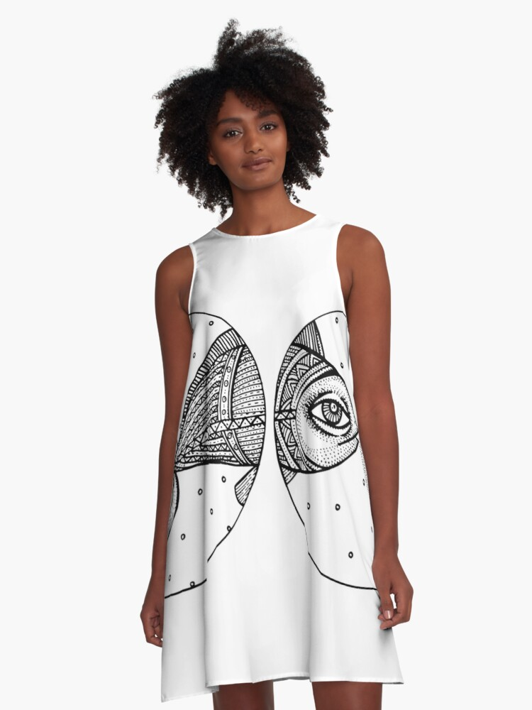 FISH BW A-Line Dress Front