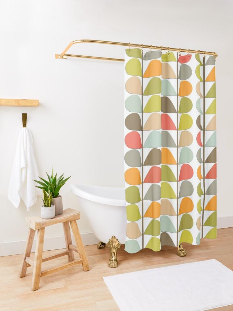 Alternate view of Retro 60s Midcentury Modern Pattern Shower Curtain