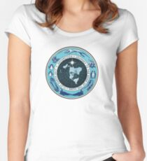 Flat Earth Designs - Antarctica Journey to the Edge of the Dome 2017 Women's Fitted Scoop T-Shirt