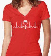 Heart Beat Wine Glass Women's Fitted V-Neck T-Shirt