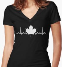 HeartBeat Maple Leaf Women's Fitted V-Neck T-Shirt