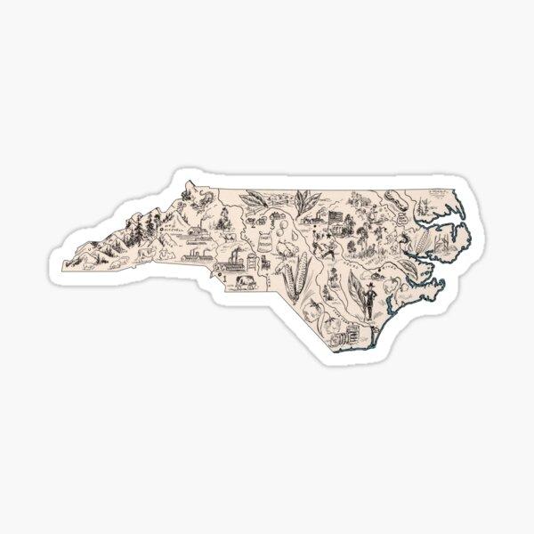 North Carolina Vintage Picture Map Sticker