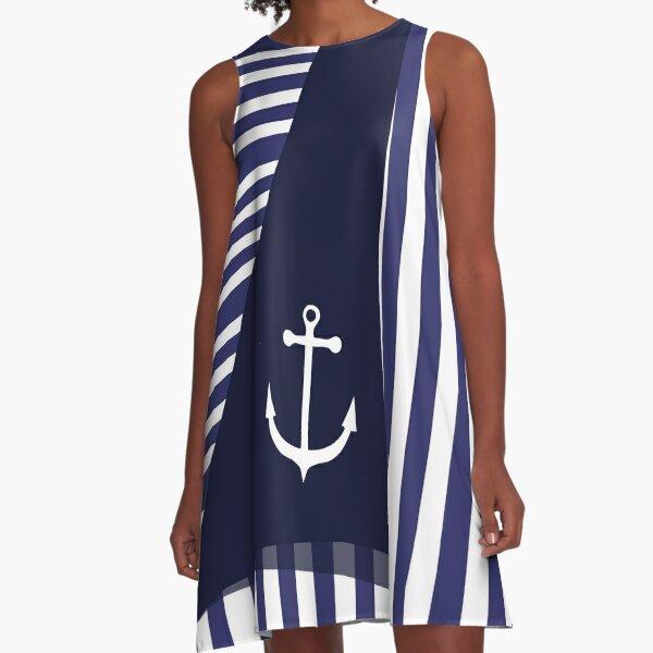 Sailor Stripes With Anchor A-Line Dress