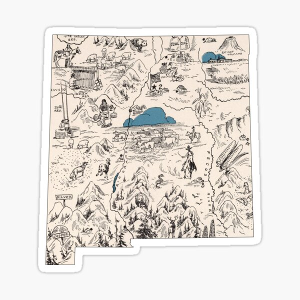 New Mexico Vintage Picture Map Sticker