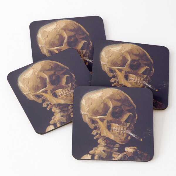 Vincent Van Gogh's 'Skull with a Burning Cigarette'  Coasters (Set of 4)
