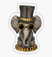 Steampunk Baby Elephant Sticker