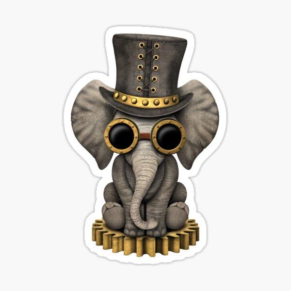 Steampunk Baby Elephant Pegatina