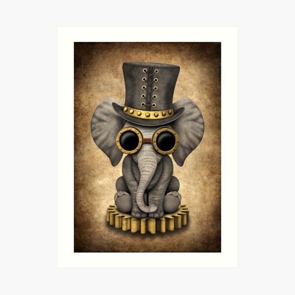 Steampunk Baby Elephant Art Print