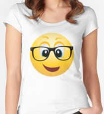 geek emoticon smiley Women's Fitted Scoop T-Shirt