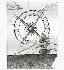 Ship and Compass Poster