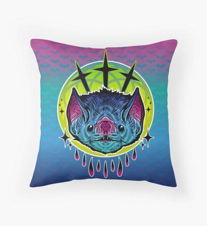 Neon Bat Throw Pillow