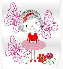 Kids Cute Whimsy Little Girl & Butterflies Illustration Poster