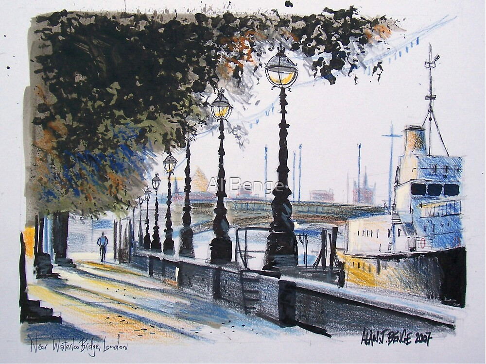 London drawing - Waterloo Bridge on the Embankment by Al Benge