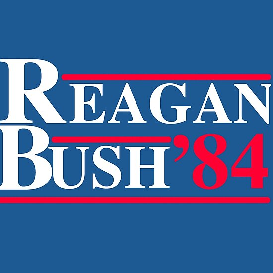 Reagan Bush '84 Retro Logo Red White Blue Election Ronald George 1984 84 Campaign T Shirt Hoodie Sticker Retro 80s 1980s Throwback by arcadetoystore