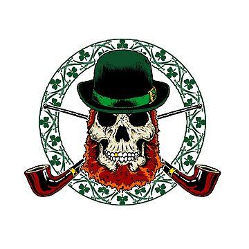Leprechaun Skull with Crossed Pipes by DeadMonkeyShop