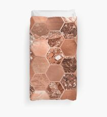 Rose gold hexaglam blonde Duvet Cover